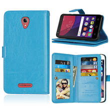 Coque Fundas 9 Card Case For Altecal One Touch Pop 4 Plus 5056D Cover Leather Flip Stand Multi-function Wallet Photo Frame Case цена в Москве и Питере