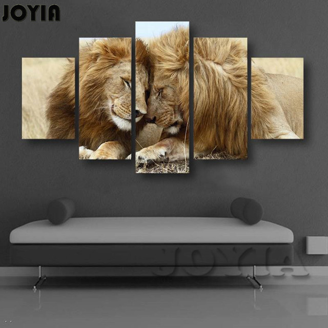 5 Panel Canvas Wall Art Modern Animal Paintings Intimate Two Lions ...