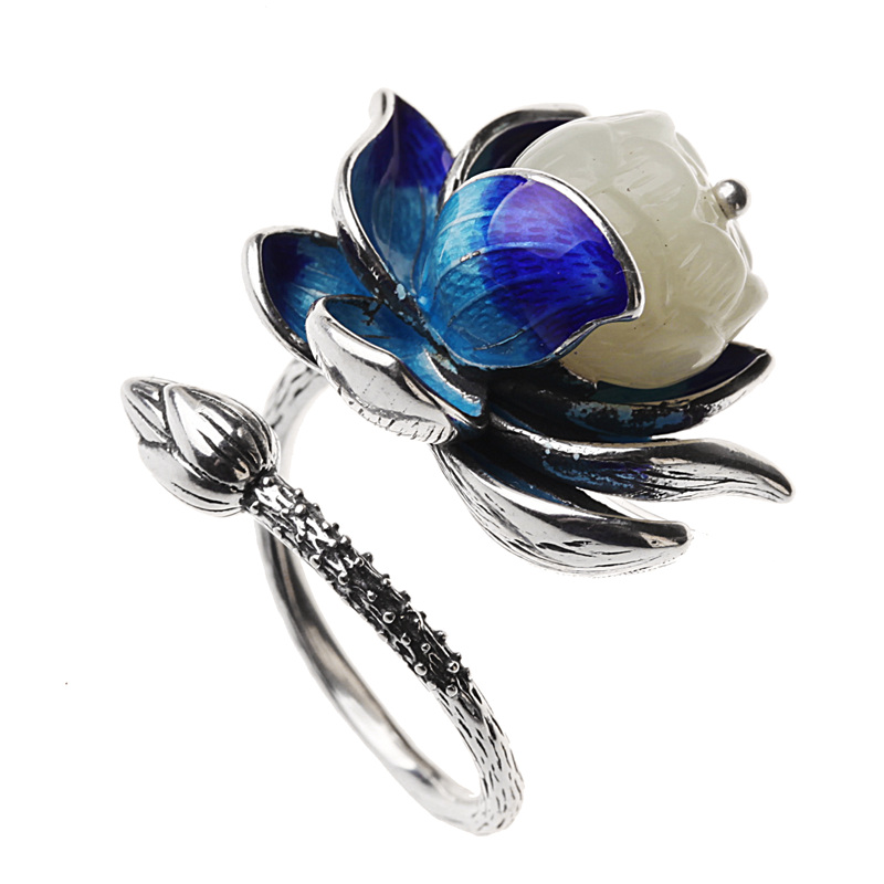 New Natural Jade 100 925 Sterling Silver Ring For Women Elegant Blue Lotus Adjustable Silver Ring