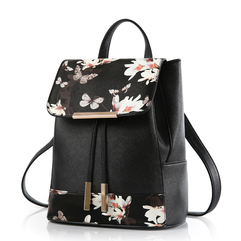 2016 New Fashion Leisure Bag Floral Printing Backpack for Teenage Girls High Qulity Pu Leather Backpack Youth Back Pack