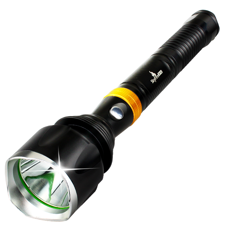 SKYFIRE Tactical Powerful Waterproof T6 LED light Flashlight with Self Defense Metal Attack Head  Torch 5000mAh 18650A 1600Lumen skyfire powerful brightest headlamp waterproof 2xt6 led headlight outdoor camp lamp hoofdlamp with 2 rechargeable 18650 4000lm