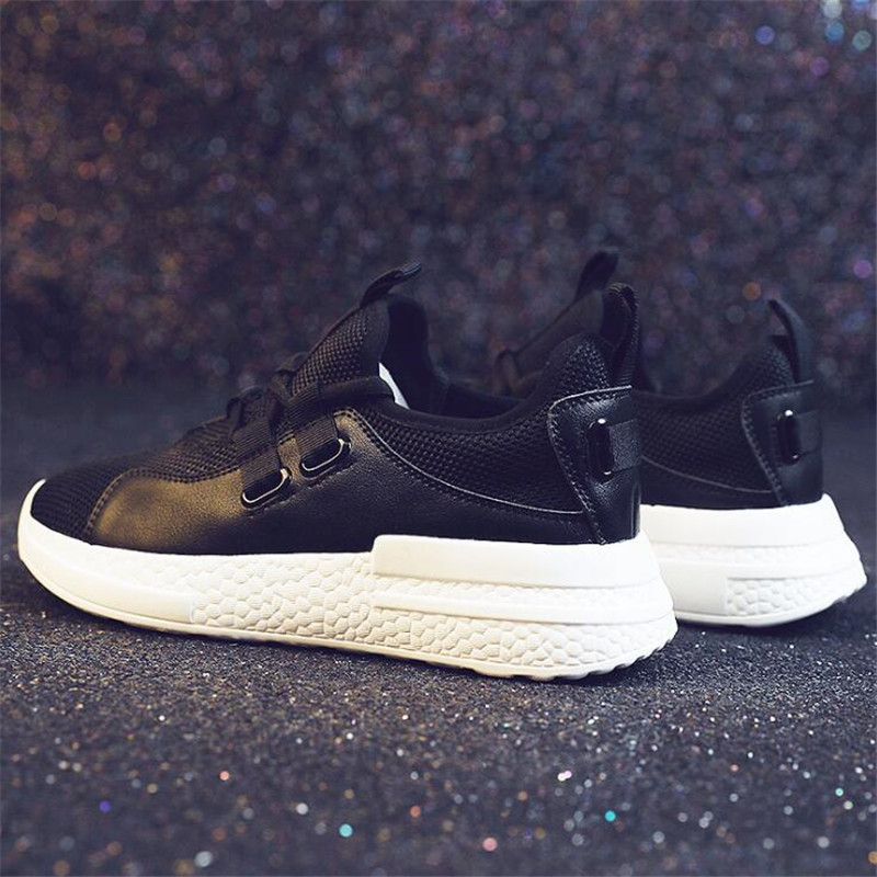 Женские кроссовки на плоской подошве, модные белые вулканизированные туфли, женская обувь на шнуровке с острым носком, дышащие кроссовки из сетчатого материала, очень мягкие - Цвет: Черный
