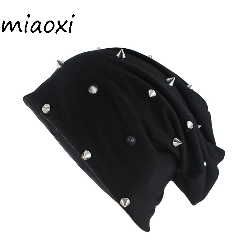 Miaoxi New Style Fashion Adult Cotton Hats For Unisex Autumn Spring Warm Beanies Silvery Rivet Casual Women Soft Hat