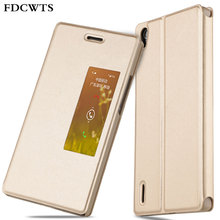FDCWTS For Huawei Ascend P7 Smart View Auto Sleep Function Flip Cover Leather Case Sleeve Stand Holder Shockproof Holster Shell