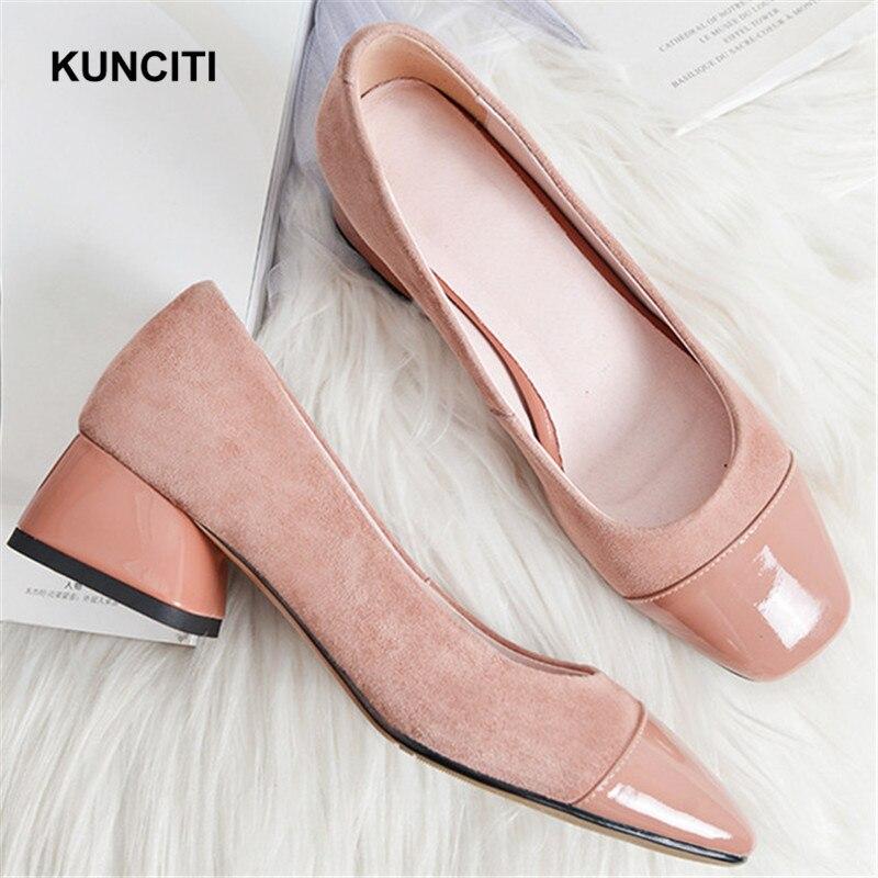 2019 KUNCITI zapatos de punta cuadrada rosa para mujer Zapatos de tacón de oficina Med zapatos de oficina de cuero de gamuza de retazos cómodos zapatos de moda G126-in Zapatos de tacón de mujer from zapatos    1