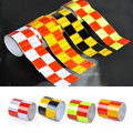 "2""X118"" 5cmX3M PVC Chequer Reflective Safety Warning Conspicuity Tape Marking Film Sticker for cars motorcycles bicycles trucks"
