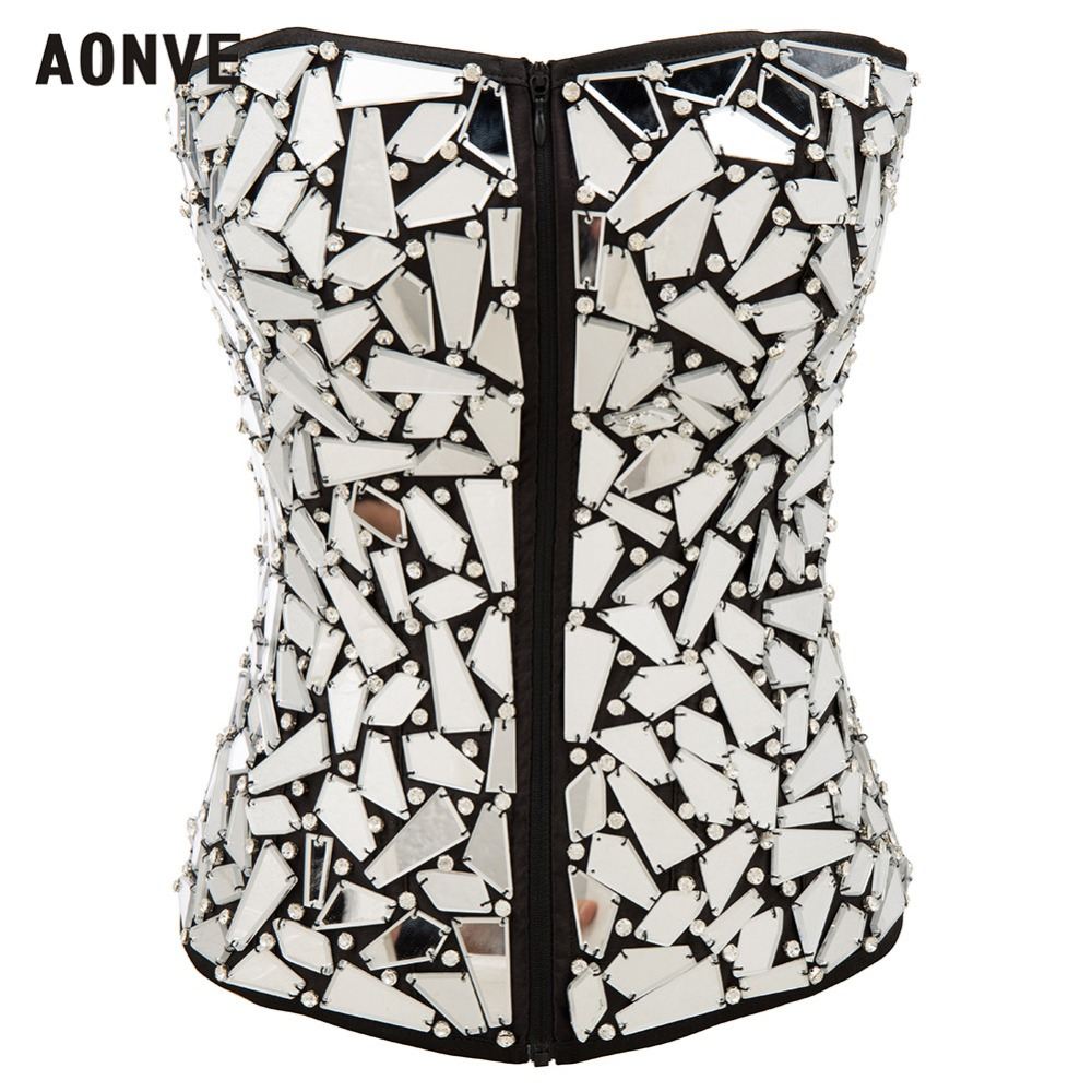 AONVE Women Steampunk   Corset   Sexy Corselet Lace Up Gorset New Wedding Club Korset Tops Slimming Push   Bustiers   Sequined   Corset
