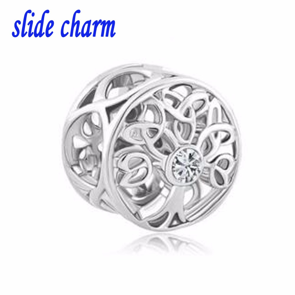 slide charm Free shipping Fit Pandora charm bracelets Transparent crystal bead tree of life charm Beads for jewelry making