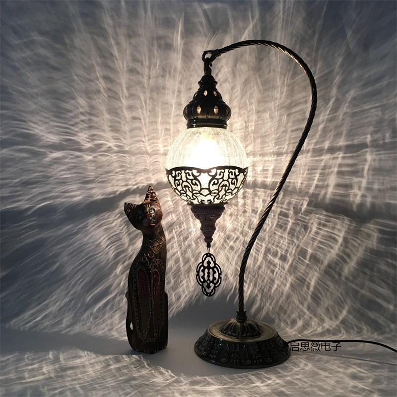 Newest E14 Hand inlaid ice cracked glass bedroom living room decorative Table Lamps of Mediterranean style Turkish Lamps-in LED Table Lamps from Lights & Lighting    1