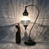Newest E14 Hand inlaid ice cracked glass bedroom living room decorative Table Lamps of Mediterranean style Turkish Lamps
