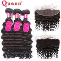 Queen Hair Products 3 or 4 Bundles With Frontal Closure Peruvian Remy Loose Deep More Wave Bundles With 13*4 Lace Frontal Hair
