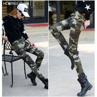 HCHENLI Military Women Camouflage Long Pants With Pockets Female Tactical Cotton Pants Ladies Army Long Slim Pencil Pants 2017