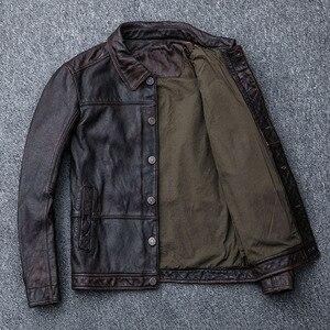 Image 4 - MAPLESTEED Vintage Rot Braun Leder Jacke Männer 100% Kuh Haut Natürliche Leder Jacken Echt Rindsleder Herren Leder Mantel Herbst M162