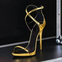 Big Sale Gold Patent Leather Strappy Women Sandals Cut-out Peep Toe Ankle Strap Gladiator Sandals Women Summer Dress Shoes цена 2017
