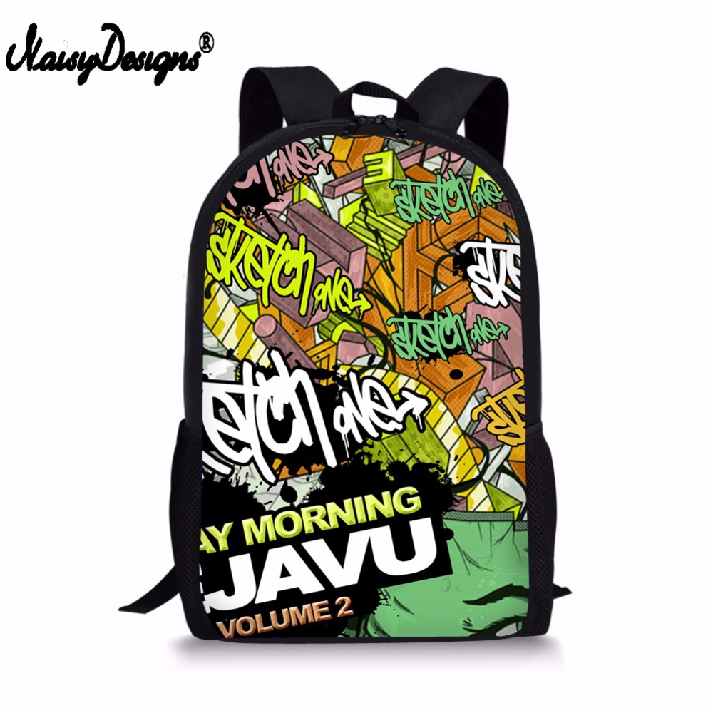 2019 New Hip HOP Graffiti Printing Backpack Rap Street Men's School Supplies Bags Notebook Bag For Boys Girls Shoulder Mochila