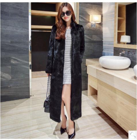 Femmes Manteaux Vestes De Faux Mujer Décontracté Noir Casual Vison Grande Section Taille Fourrure Longue Abrigos Black Elegantes K477 rBpFPqrw