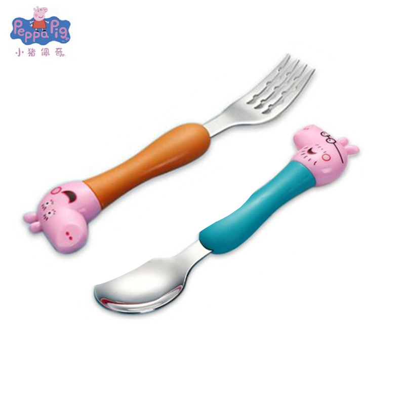 Новинка, Оригинальная Повседневная столовая ложка со Свинкой Пеппой, вилка, детская посуда, милая мультяшная модель, набор ложек, детские подарки на день рождения - Цвет: 4