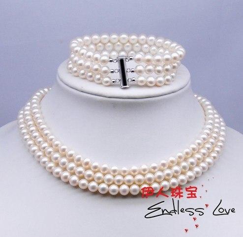 Joli bijoux de mariée trois rangées 6-7mm perles d'eau douce, collier et Bracelet ensemble de bijoux femme mot en gros