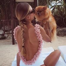 Sexy Brazilian Bikini Pink Floral Swimwear Backless 3D bodysuit Flower Swimsuit Women Cut Out Monokini Maillot De Bain Femme