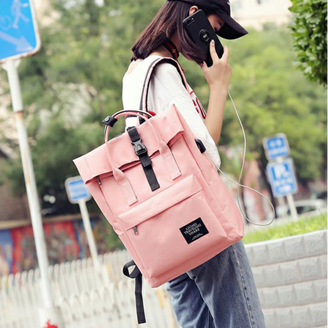 76e8c271b0e3 Women External USB Charge Backpack Canvas Backpack Male Mochila Escolar  Girls Laptop Backpack School Bags Backpack for teens-in Backpacks from  Luggage ...
