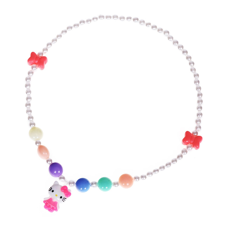 Colorful Candy Color Beads Children Choker Cat Necklace Kids Baby Elastic Stretchy Kitty Pendant Necklace Birthday Gifts