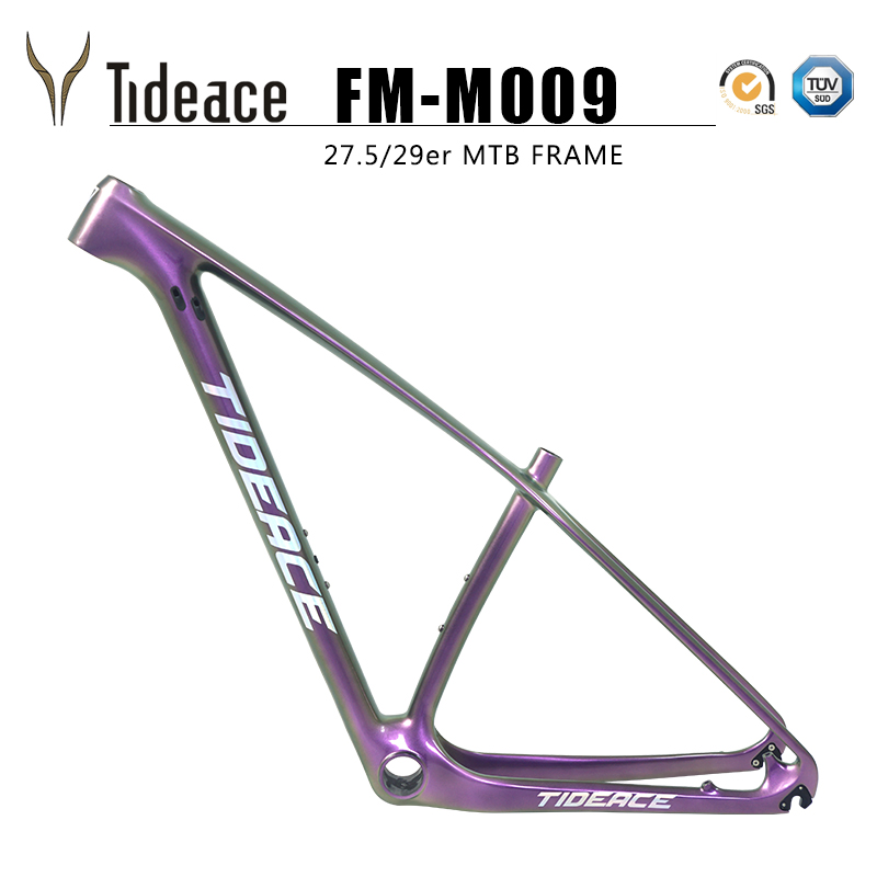 2019 Chameleon Colors Design T800 Carbon MTB Frame Tideace Full Carbon Mountain Bike Frame 29er/27.5er Rigid Bicycle Frame