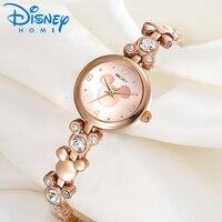 Disney Watch Women Silver Luxury Brand Fashion Rose Gold Quartz Watches Mickey Mouse Rhinestones Stainless Steel Wristwatch
