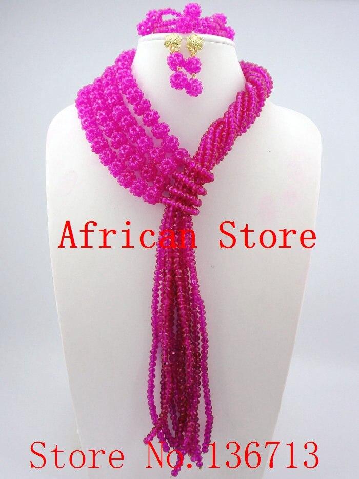 6232bed7a1d ▽Мода красный нигерийские Кристалл Бусины Цепочки и ожерелья ...