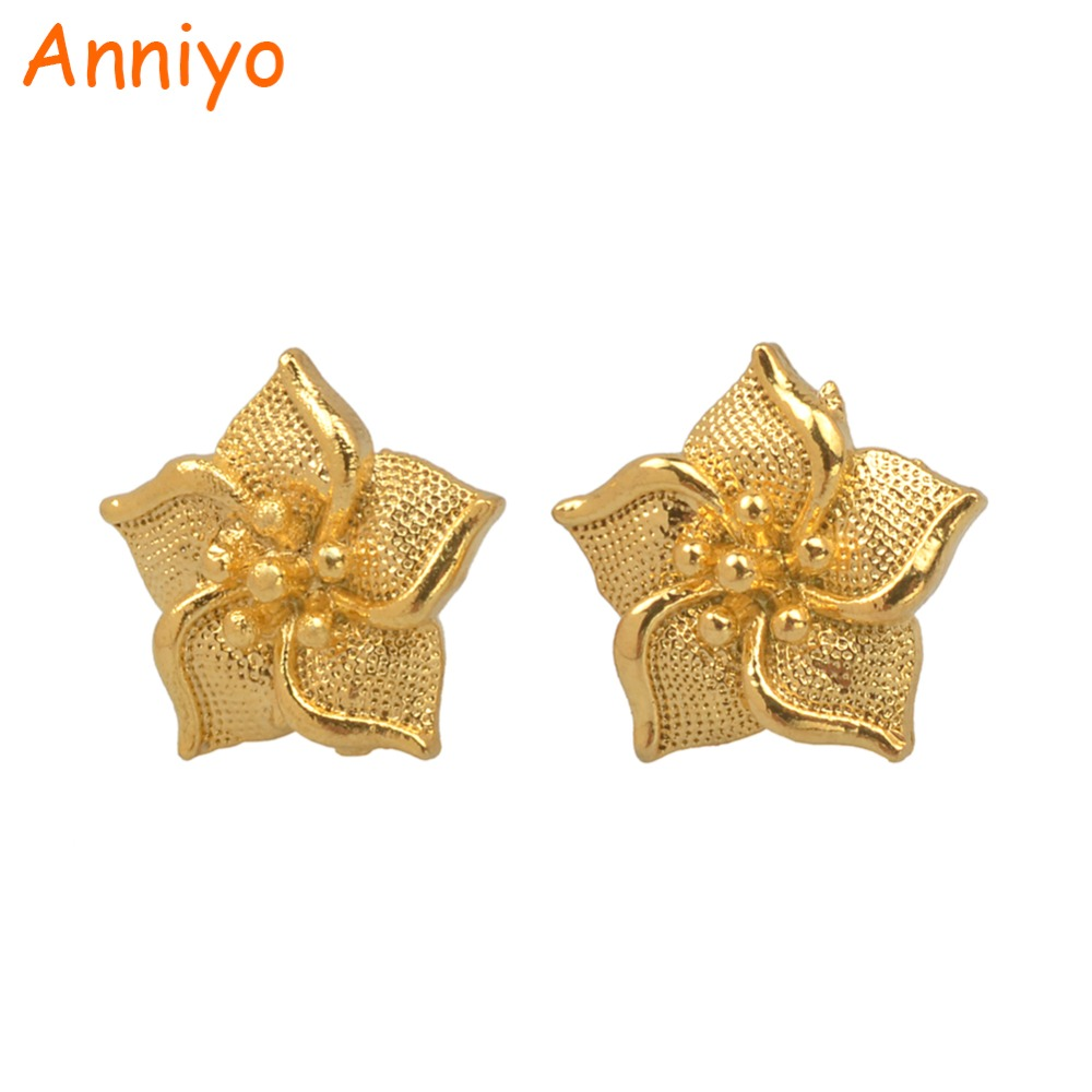 Anniyo Small Size Flower Stud Earrings for Women/Girl Gold Color Plant Jewelry Arab African Gifts #005025