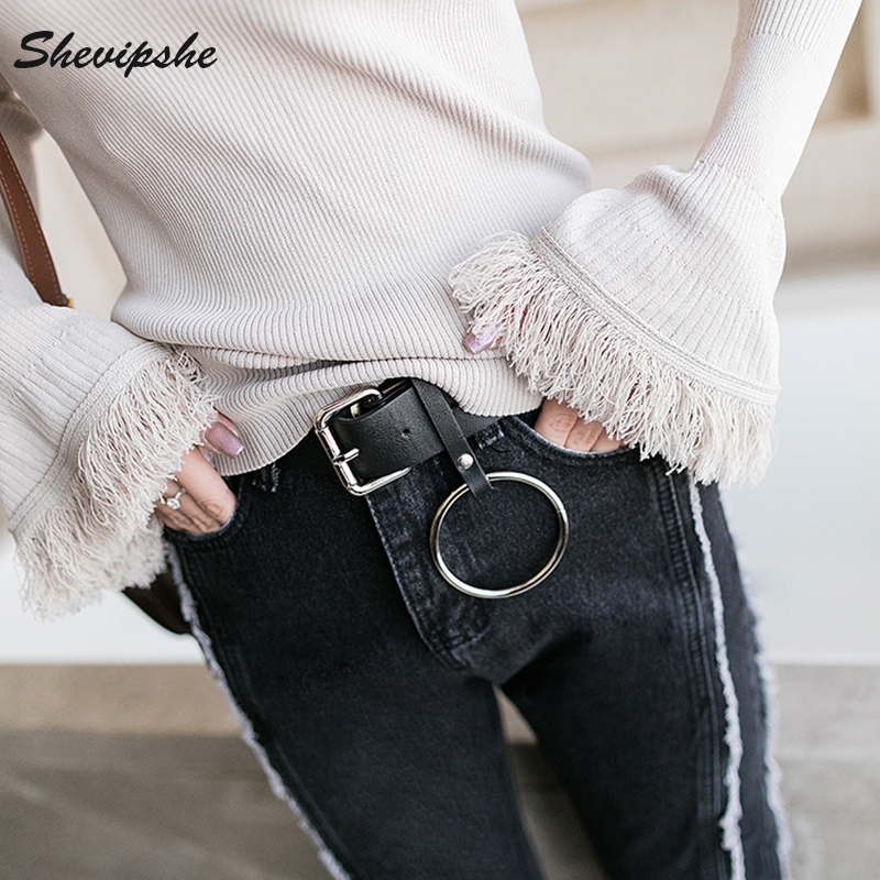 o ring belt. round metal circle designer belts women waist belt hot brand punk jeans big o ring pin buckle solid pu leather strap -in underwear from mother