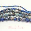 "wholesale Natural Stone blue Sea Sediment Jasper Loose Beads 15.5"" Pick Size 4 6 8 10 12mm Free Shipping (F00146)"