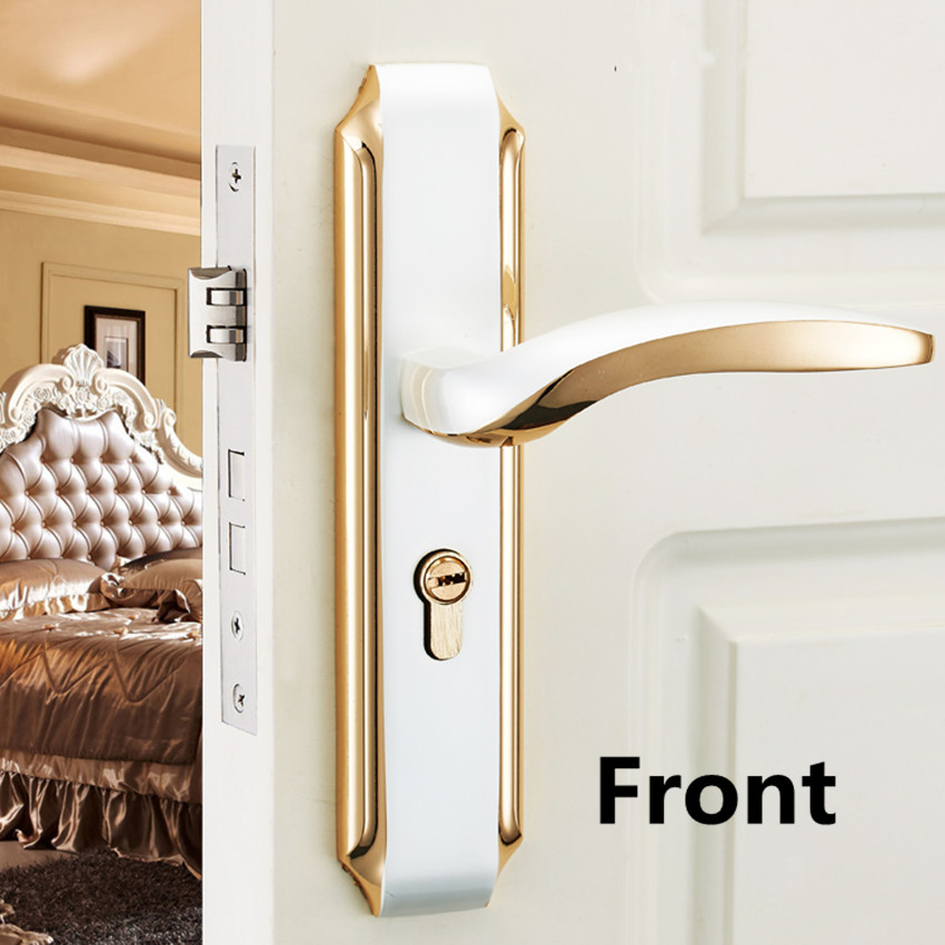 Euro Fashion white gold mute mechanical split room door lock,ivory white bedroom bathroom, kitchen solid wood door handle lock european style retro quiet mechanical interior door lock ivory white bedroom study kitchen bathroom solid wood door lock handle