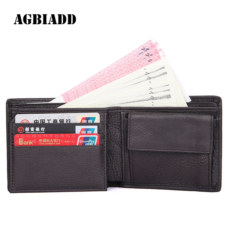 AGBAIDD Mens Flip-Id Window Bifold Genuine Leather Pocket Wallet Excellent Credit Card Holder Purse With Coin Pocket For Men 578 mens wallets black cowhide real genuine leather wallet bifold clutch coin short purse pouch id card dollar holder for gift