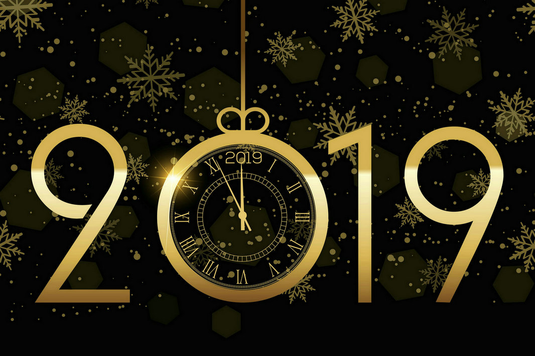 Holiday New Year 2019 clock snowflake gold black backdrop High quality Computer print party background|Background| |  -