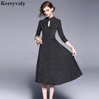 Elegant Women Knitting Black Dress Vetement Femme 2018 Spring Hollow Elastic Midi Party Dress Robe Pull Femme Hiver Jurken K177