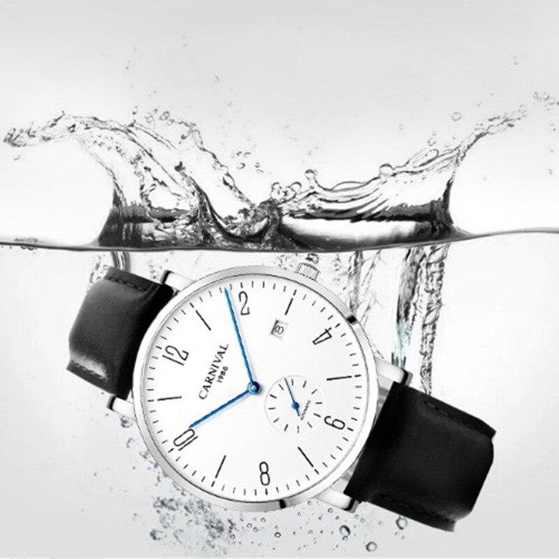 Karneval Automatische mechanische Uhr Männer luxury brand voller Stahl Business männer Uhren Calkskin Leder Mode Casual Datum Uhren - 5