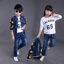 Girls Denim Clothing Sets Spring Autumn Large Children's Fashion Casual Boys Coat + Pants Sport Suit 2 Piece Children Clothing
