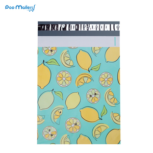 Image 2 - 100pcs 25.5x33cm 10x13 inch lemon fruit pattern Poly Mailers Self Seal Plastic Envelope Bags