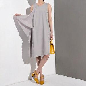 Image 5 - [EAM] 2020 New Spring Summer Round Neck Sleeveless Black Loose Split Joint Ruffles Temperament Dress Women Fashion Tide JG2220