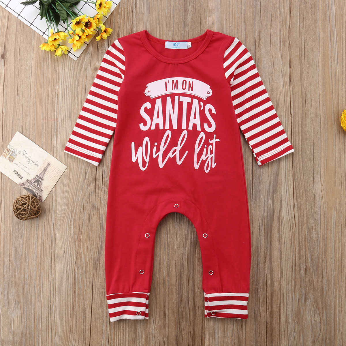 Christmas Xmas Baby Boys Girls Clothes Newborn Striped   Romper   Jumpsuit Outfit Clothes