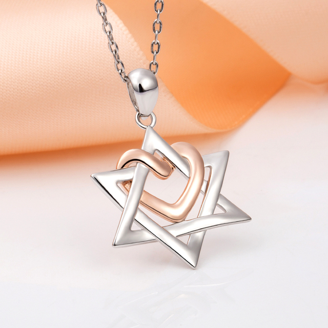 925 Sterling Silver Rose Gold Heart Hexagonal Star Pendant Necklace 2020 Female Fine Jewelry Gift Support Wholesale