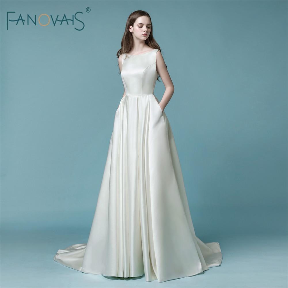 Cheap simple wedding dresses 2018 open back beaded bridal for Cheap and simple wedding dresses