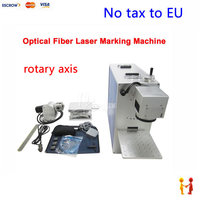(EU Free Taxes!) best price optical fiber laser marking machine 10W power with rotary axis for pvc plastic, metal wood