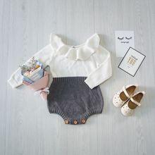 Ins Chaude Automne Enfant Bébé Fille Vêtements Ruches Princesse Fille Doux Tricoté Salopette Infantile Barboteuse 9 M-4 T