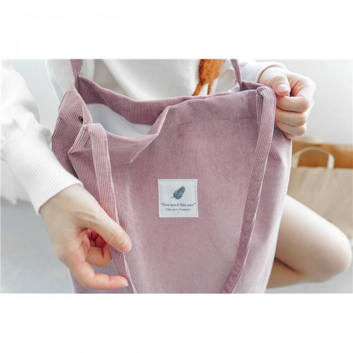 High Capacity Women Corduroy Tote Ladies Casual Shoulder Bag Foldable Reusable Shopping Beach Bag WML99 15