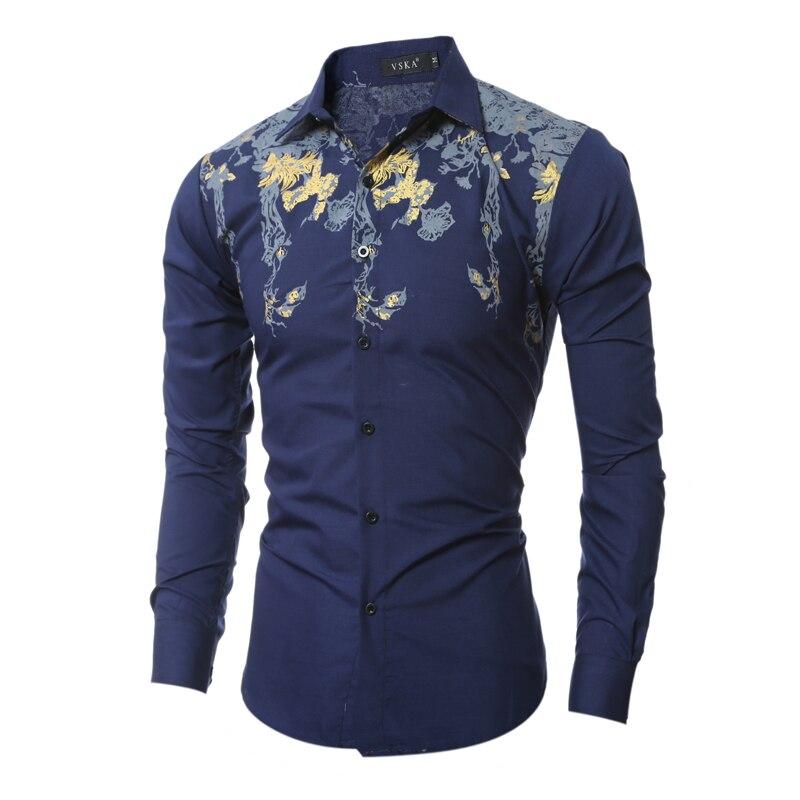 Brand mens dress shirts 2015 fashion design printed men for Mens printed long sleeve shirts