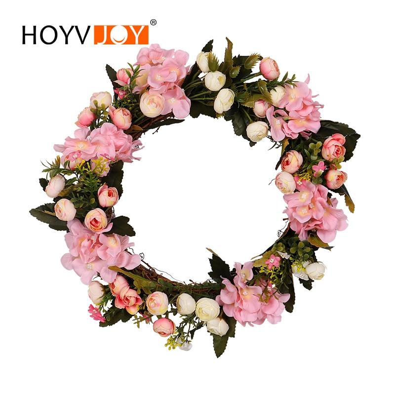 HOYVJOY Spring Decoration Garland Decoration Christmas Wreath Decorations Rose Hydrangea Wreath Home Decoration Free Shipping