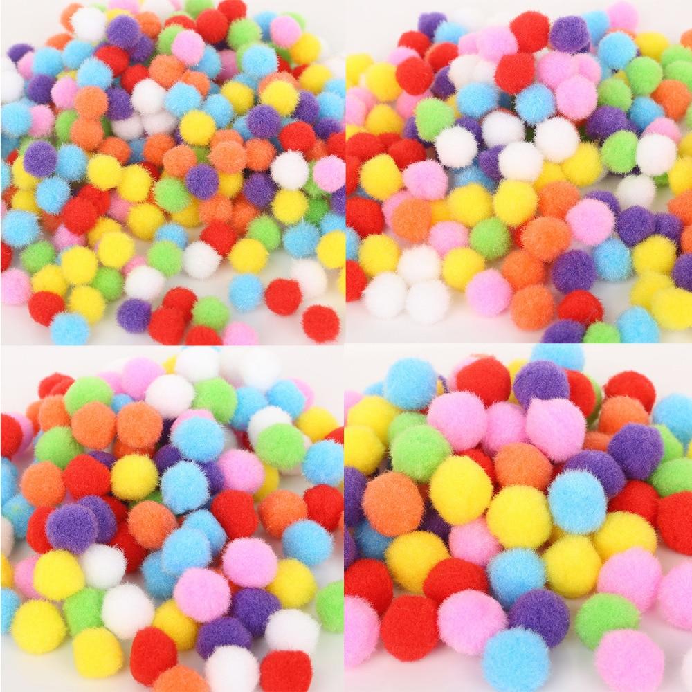 Hot 100-500 pçs/lote Macia Mista Rodada Em Forma de Bolas de Pompom Pom Pom Fofo Para As Crianças DIY Garment Artesanato 10mm/15mm/20mm/25mm/30mm