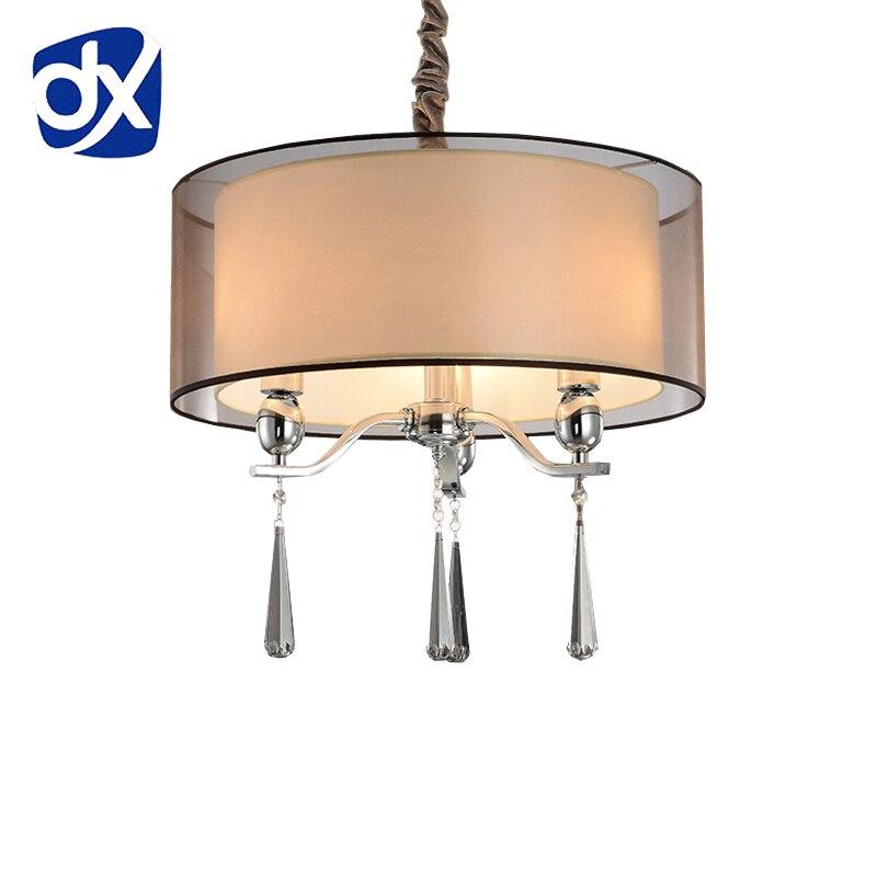 moderno abajur tecido iluminao lustre da sala de jantar moderna candelabro de cristal de luz de alta qualidade do metal da lm