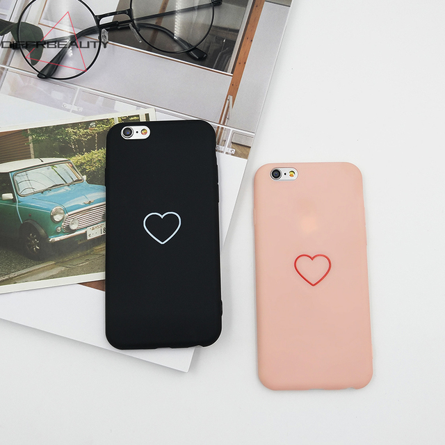 timeless design 7d909 6451e US $2.99 |DIFFRBEAUTY Simple Design Love Heart Pink Girl Cute Soft Silicone  Protective Shell Phone Case Cover for iPhone X 8 7 6 plus 5 SE-in Fitted ...